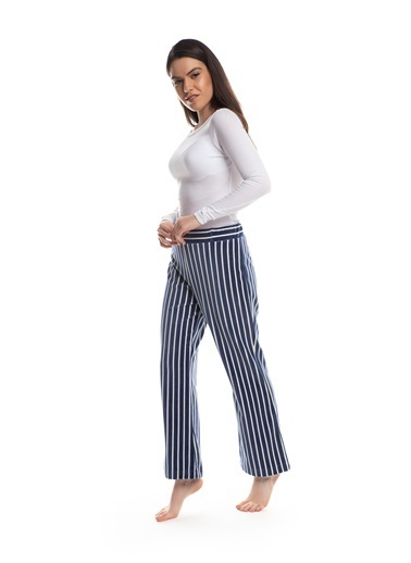 Pamuk & Pamuk Kadın Lacivert Ekru Çizgili Kadife Pantolon Renkli